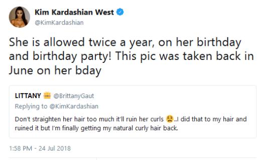 Kim Kardashian claps back at hair tweet