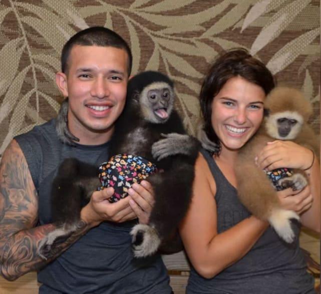 Javi and lauren monkeying around