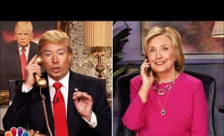 Hillary Clinton Pretends to Talk to Donald Trump