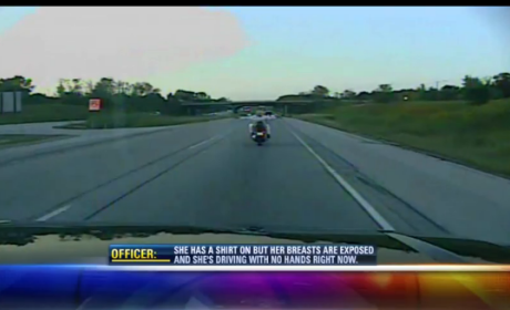 Police Apprehend Topless Motorcycle Driver