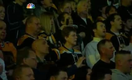 """Boston Bruins Fans Stand """"Strong,"""" Sing National Anthem"""