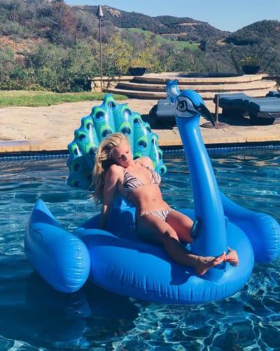 Britney Spears in a Bikini on a Peacock Float