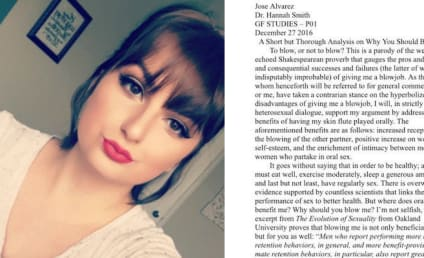 Boyfriend Pens Essay in Support of Girlfriend Giving Him a BJ