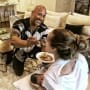 Dwayne Johnson Feeds Lauren Hashian While She Breastfeeds Their Baby