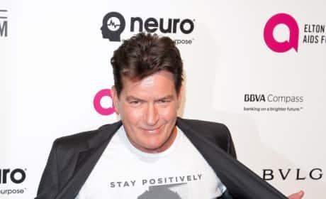 Charlie Sheen Shows Off Shirt