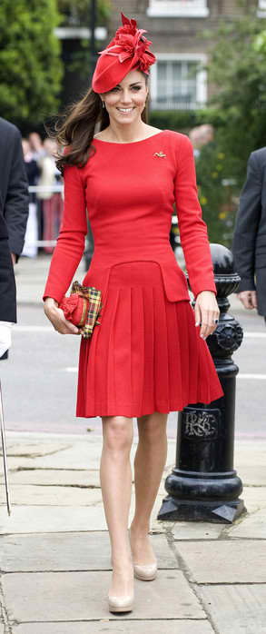 Kate Middleton Red Dress, Hat
