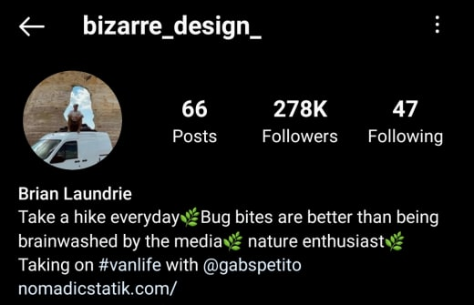 Brian Laundrie IG profile and bio