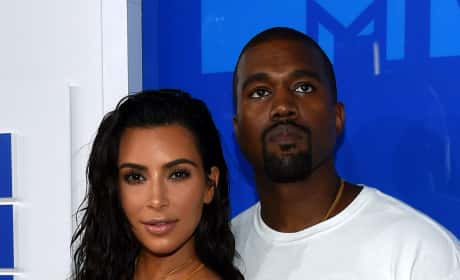 Kanye West and Kim Kardashian at a Red Carpet Event Photo