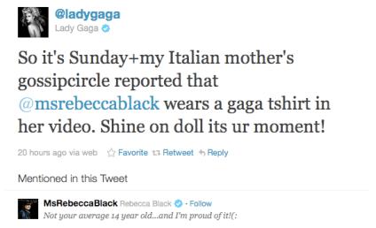 Lady Gaga Tweets Love For Rebecca Black