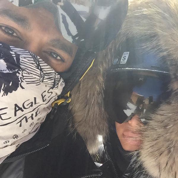 Kim Kardashian and Kanye West Skiing