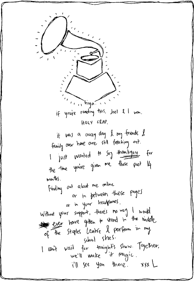 Lorde Grammy Thank You Note