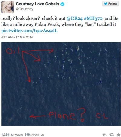 Courtney Love Finds Malaysia Airlines Flight 370