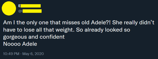 tweet - manque la vieille Adele