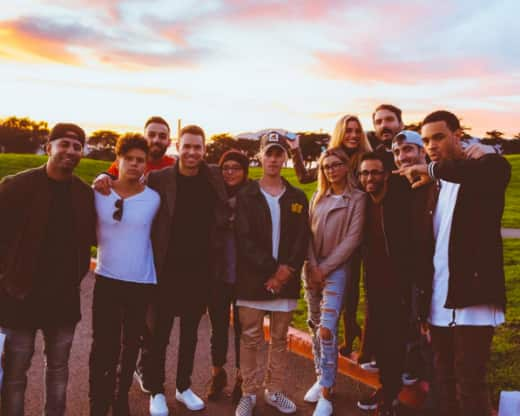 Justin Bieber and Hailey Baldwin with friends