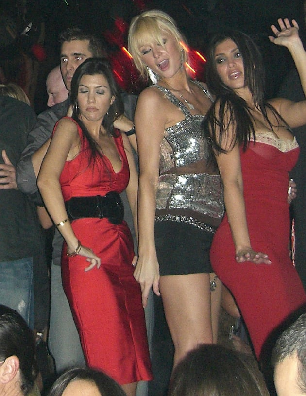 Kourtney Kardashian, Paris Hilton and Kim Kardashian Dance at Tao Las Vegas in 2006