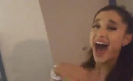 Ariana Grande Kisses Liz Gillies!