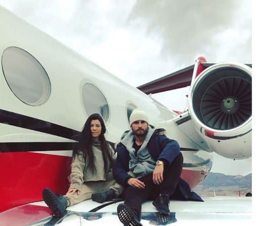 Kourtney Kardashian and Scott Disick on a Plane