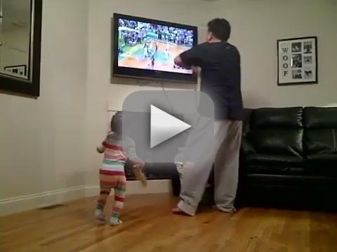 Celtics Fan, Little Kid Swear at TV