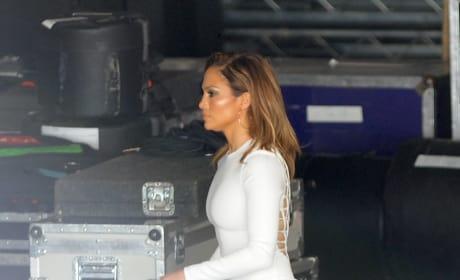 Jennifer Lopez Films 'American Idol' In a Tight White Dress