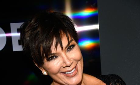 Kris Jenner black lace dress