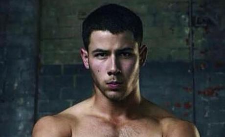 Shirtless Nick Jonas