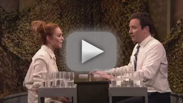 Lindsay Lohan-Jimmy Fallon Water Fight!