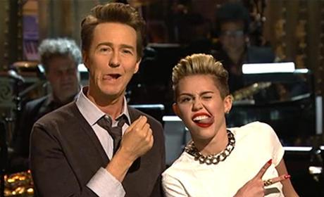 Edward Norton and Miley Cyrus