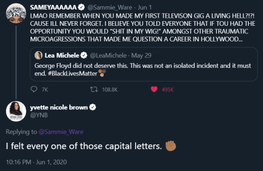 Yvette Nicole Brown tweet vs Lea Michele