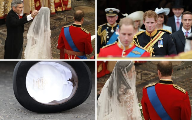 Michael middleton fixes kate middletons veil at her wedding