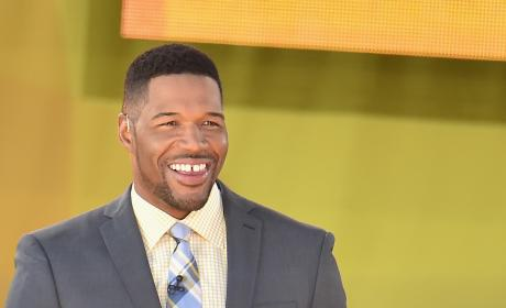 Michael Strahan on GMA Set
