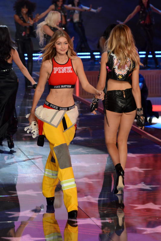 Gigi Hadid: Firefighter Look at  the 2015 Victoria's Secret Fashion Show