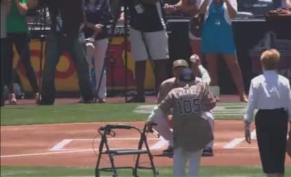 105-Year Old Throws Out First Pitch, Shows Up 50 Cent