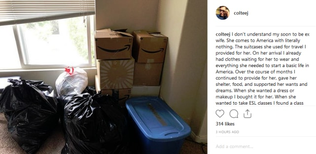 Colt packs up larissas things