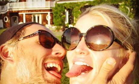 Eric Johnson and Jessica Simpson Stick Their Tongues Out