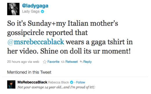 Gaga tweet to RB