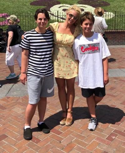 Sean Preston, Britney Spears, and Jayden James at Disneyland