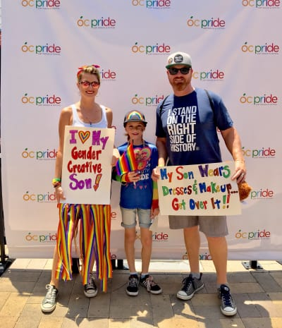 Lori, CJ, and Matt at Orange County Pride
