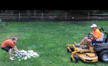 Father Runs Over Kid's Video Games with a Lawn Mower