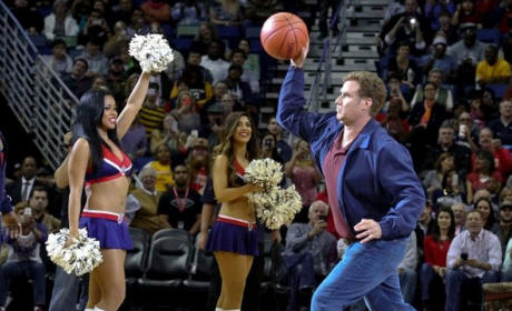 Will Ferrell Throws Basketball at Cheerleader