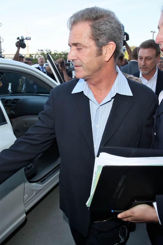 Mel Gibson Outside Court