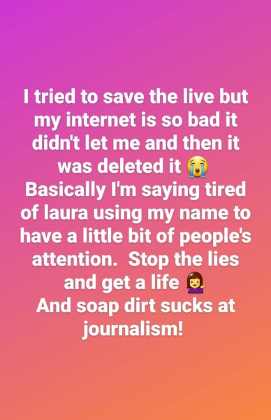 Evelin Villegas IG Story - tried to save the live, hates Soap Dirt
