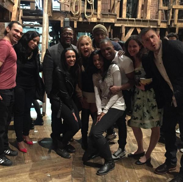 Amy Schumer with cast of Hamilton