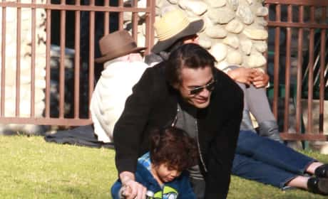 Olivier Martinez Takes Son To The Park