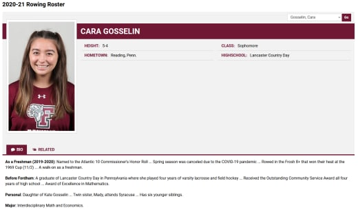Cara Gosselin student athlete bio (2021)
