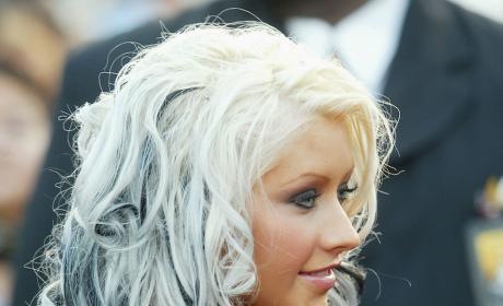 Christina Aguilera Black and Blonde Hair