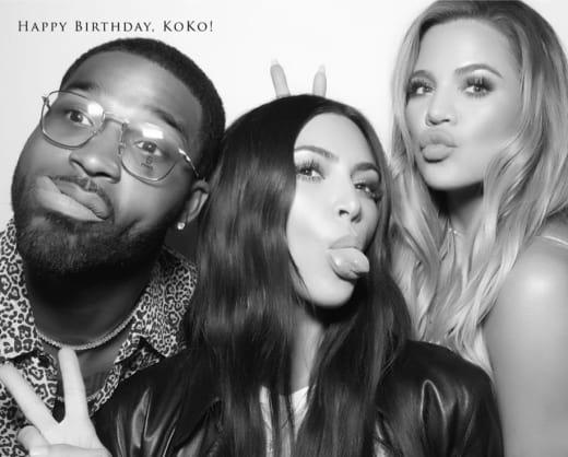 Kim Kardashian, Khloe Kardashian and Tristan Thompson
