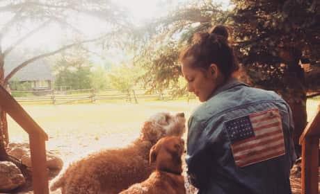Minka Kelly and Dogs
