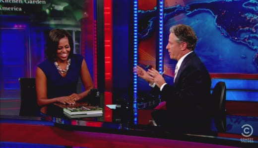 Michelle Obama and Jon Stewart