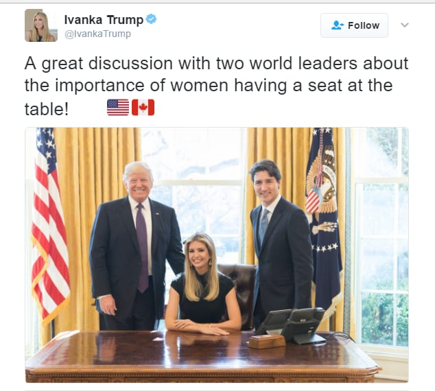 Ivanka Trump Sits at Oval Office Desk, Twitter Loses Its ...