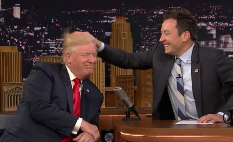 Jimmy Fallon Tussles Donald Trump's Hair